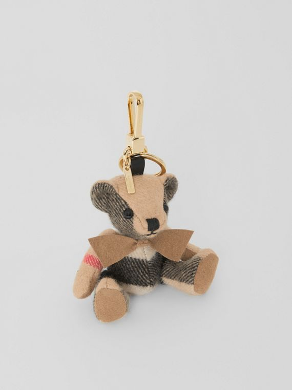 Adorno do Thomas Bear de cashmere com estampa xadrez (Camel)