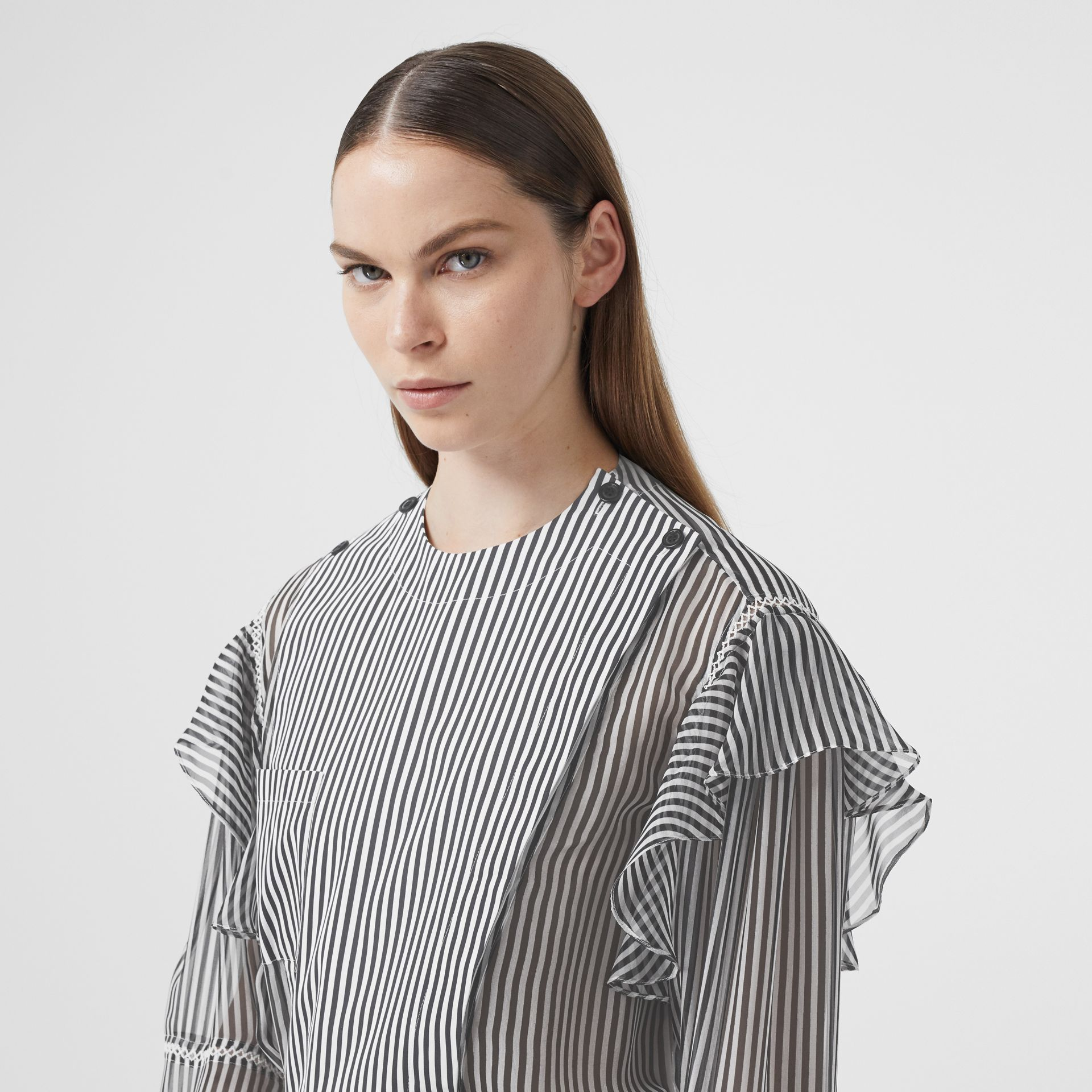 Ruffle Detail Striped Silk Chiffon Shirt in Black - Women | Burberry - gallery image 4