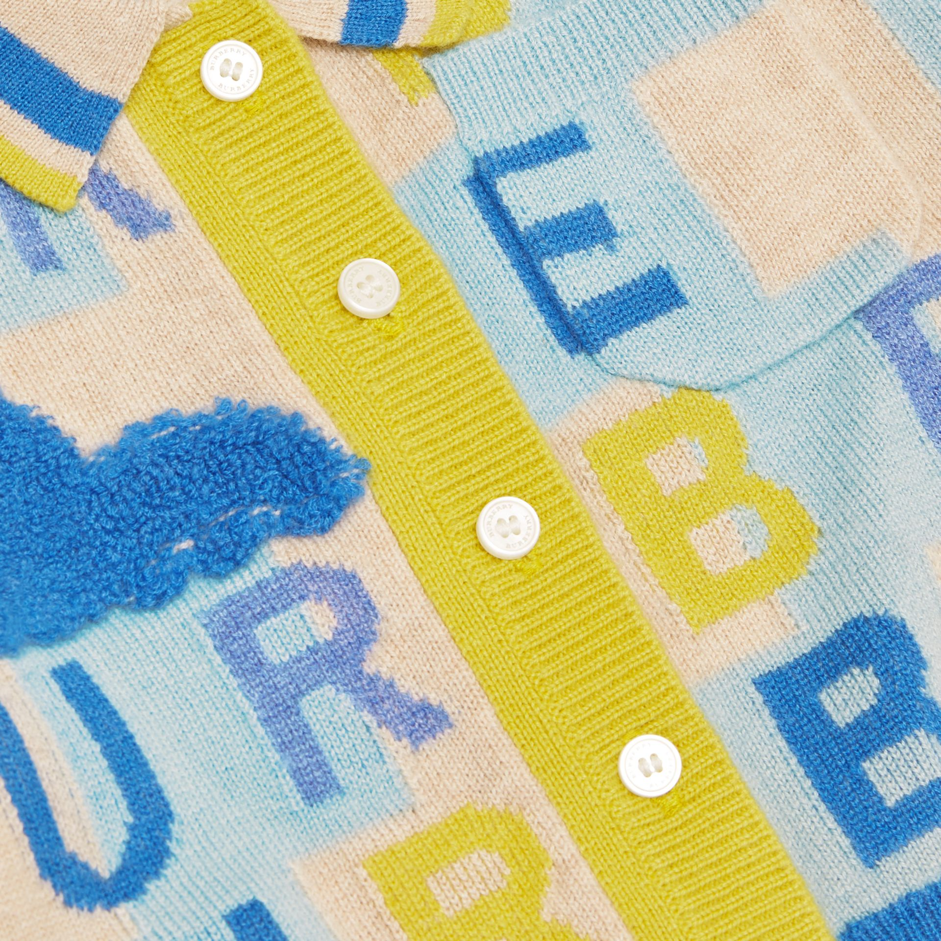 Short-sleeve Logo Print Cashmere Cardigan in Pale Mint - Children | Burberry - gallery image 1