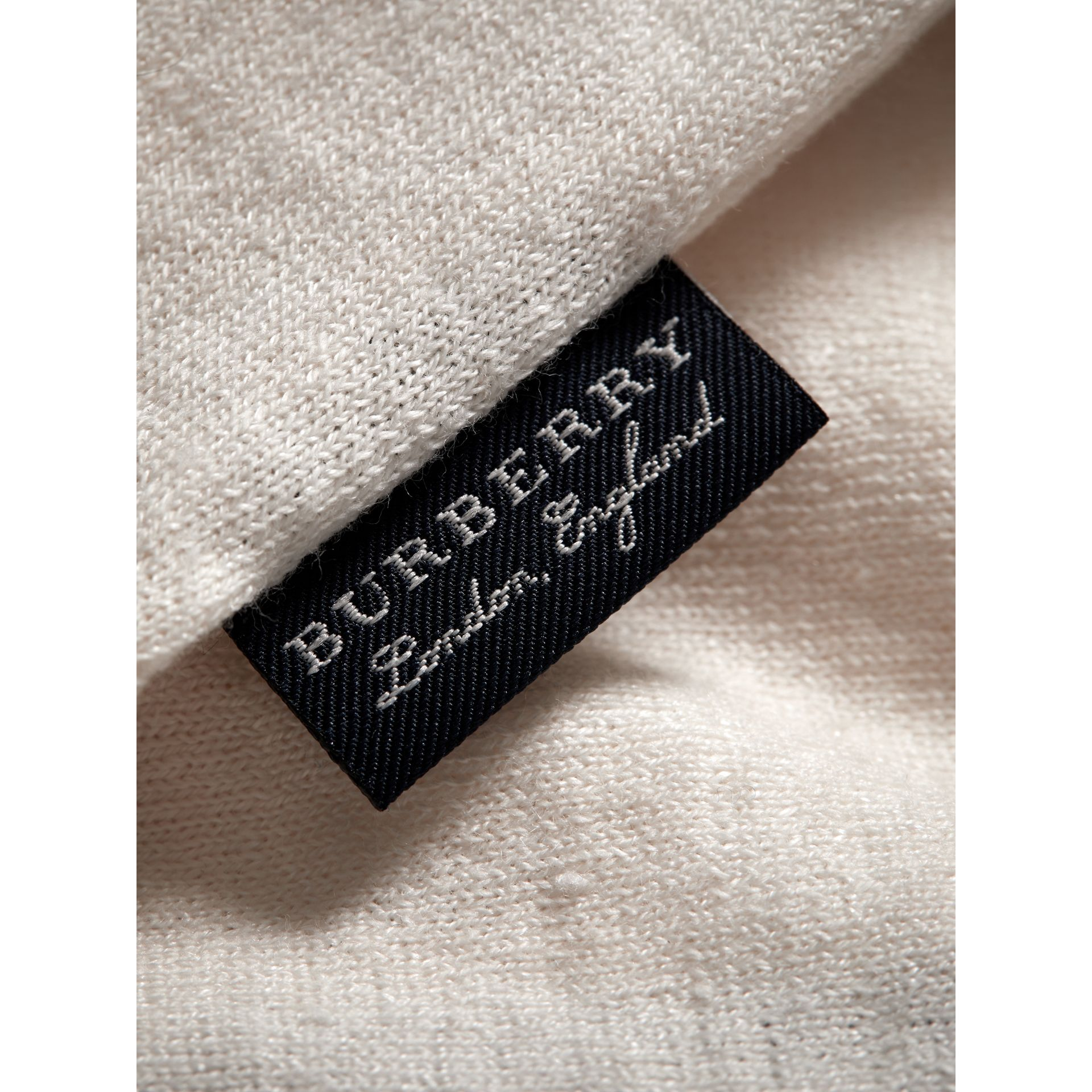Rib Detail Linen Cotton Cardigan in White | Burberry Australia - gallery image 1