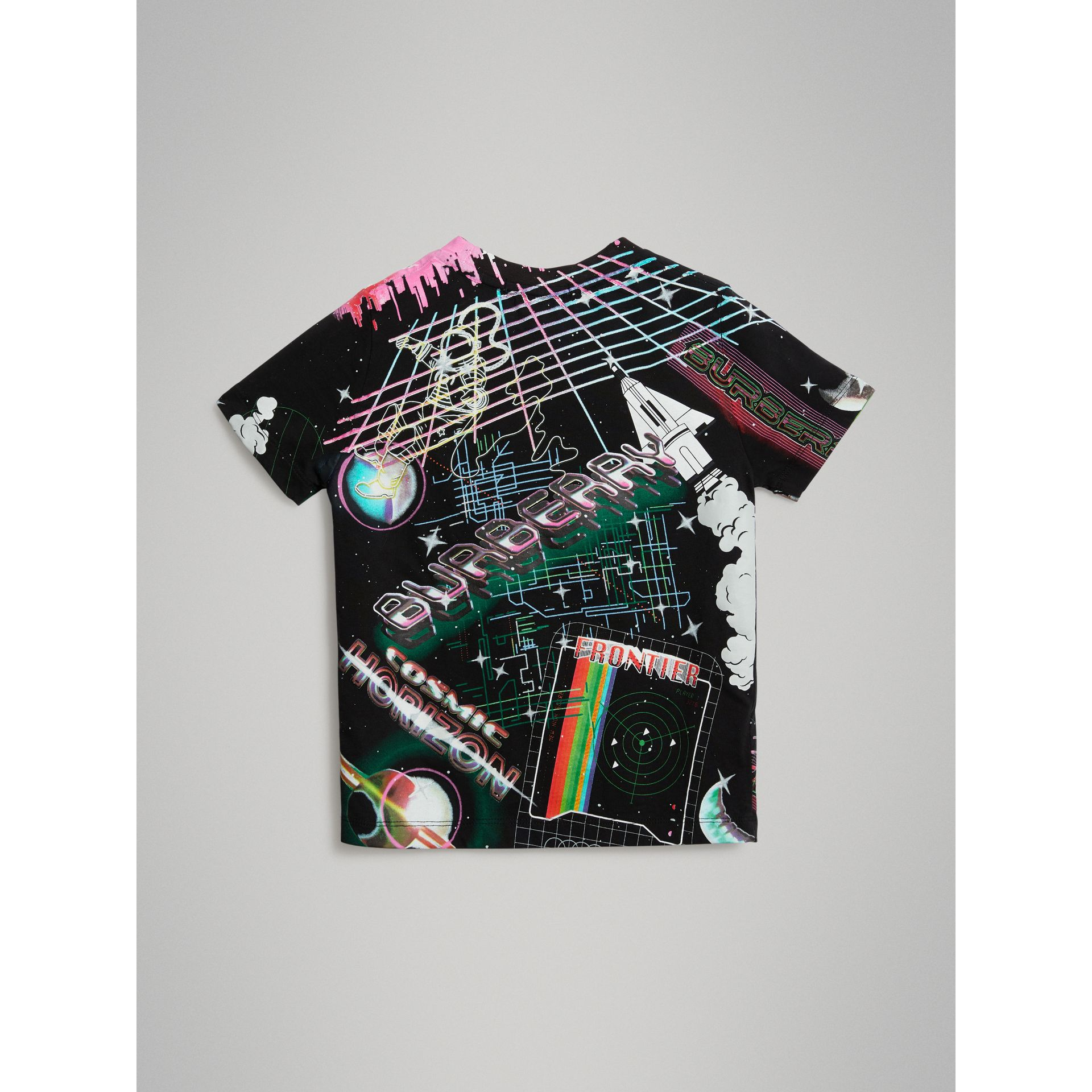 Galactic Print Cotton T-shirt in Multicolour - Boy | Burberry United States - gallery image 3