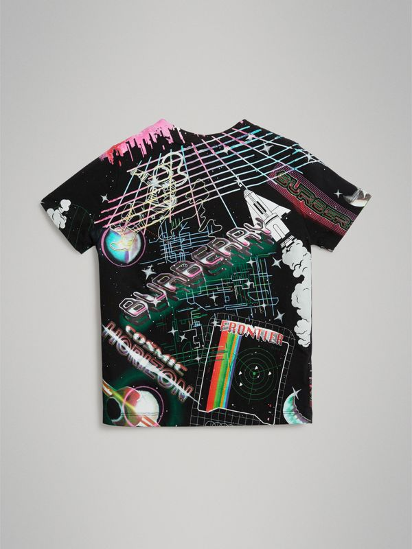 Galactic Print Cotton T-shirt in Multicolour - Boy | Burberry Australia - cell image 3