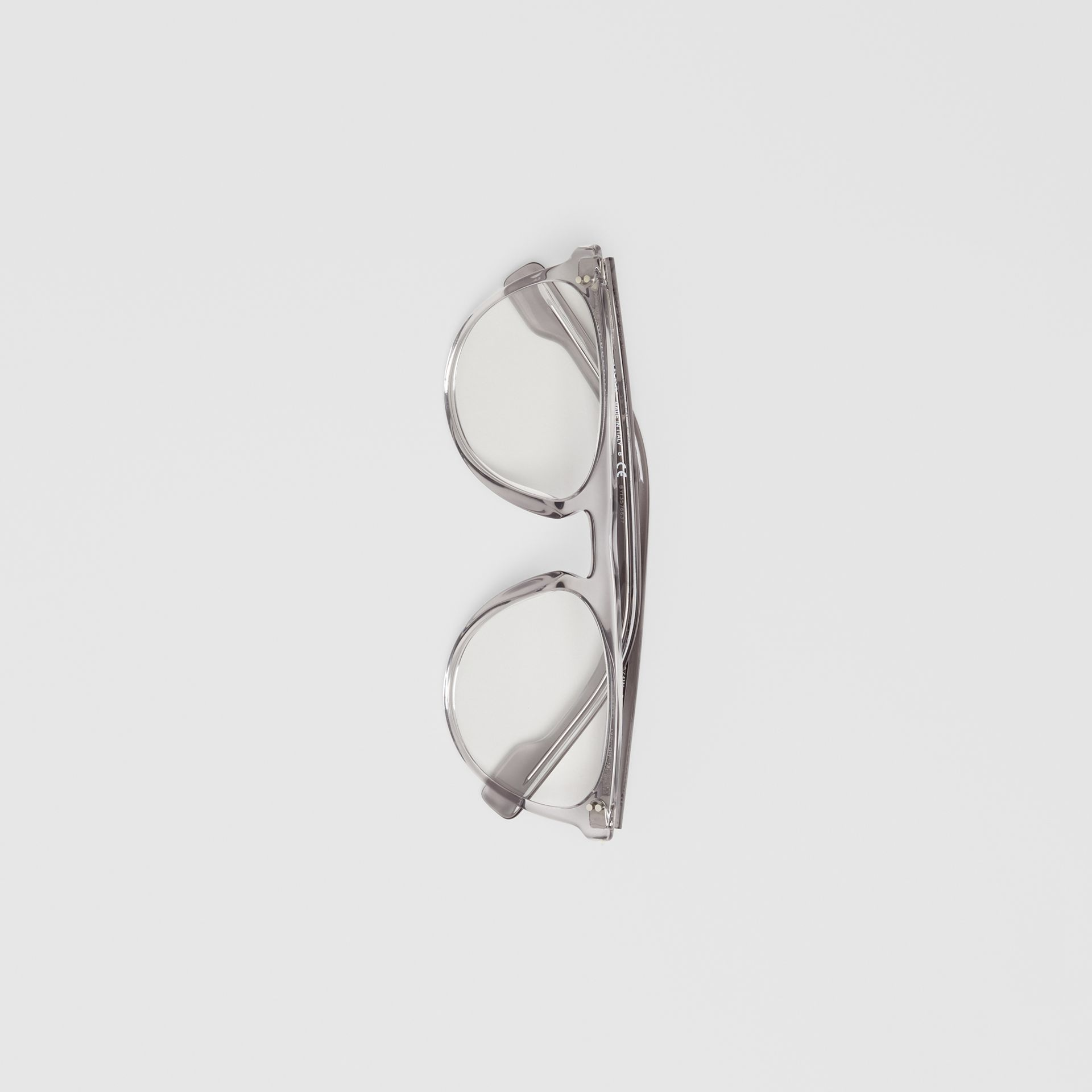Keyhole D-shaped Optical Frames in Grey - Men | Burberry Singapore - gallery image 3