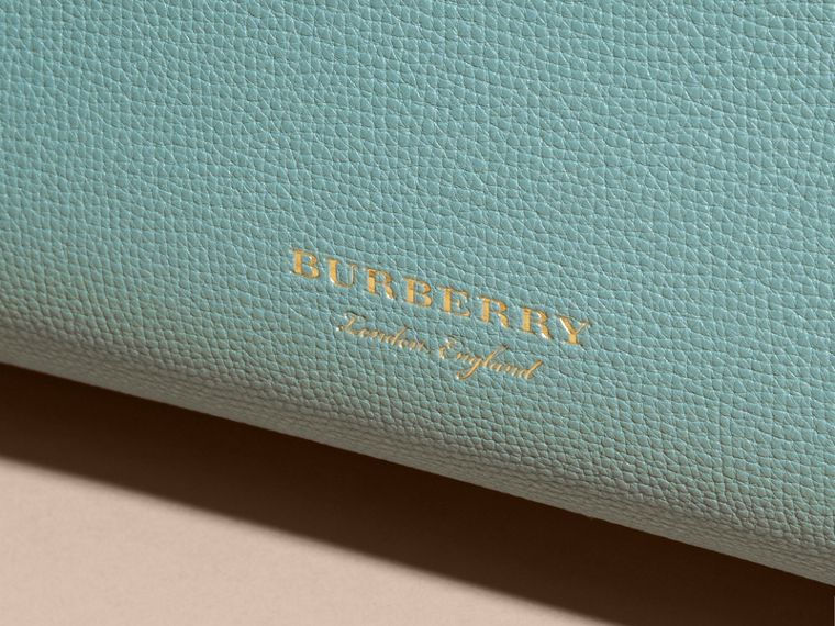 The Medium Banner in Leather with Tonal Appliqué in Celadon Blue - cell image 1