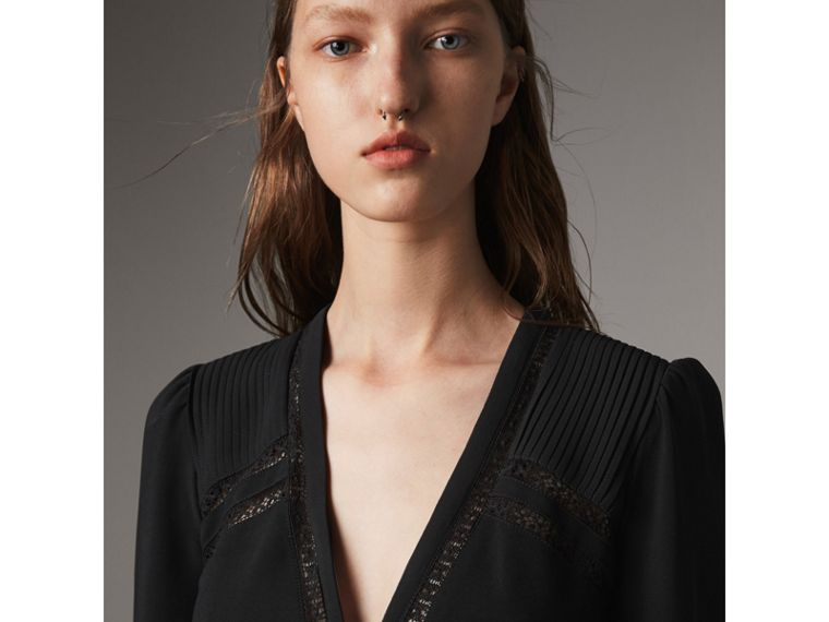 Lace Insert Fitted Dress in Black - Women | Burberry - cell image 1