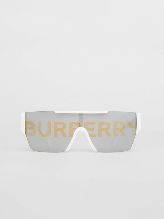 Logo Lens D-frame Sunglasses in White