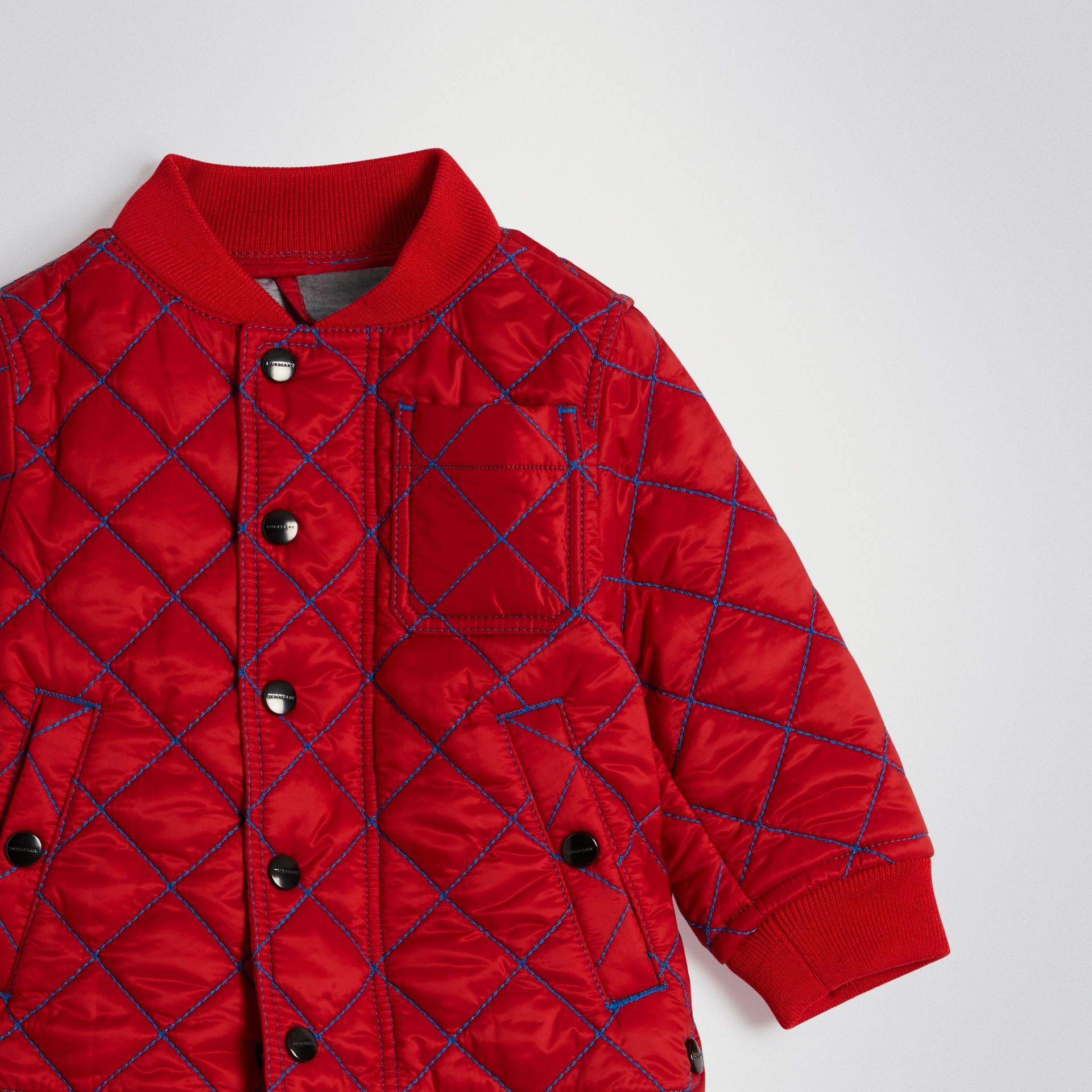 Topstitched Quilted Jacket in Bright Orange Red - Children | Burberry Australia - gallery image 4