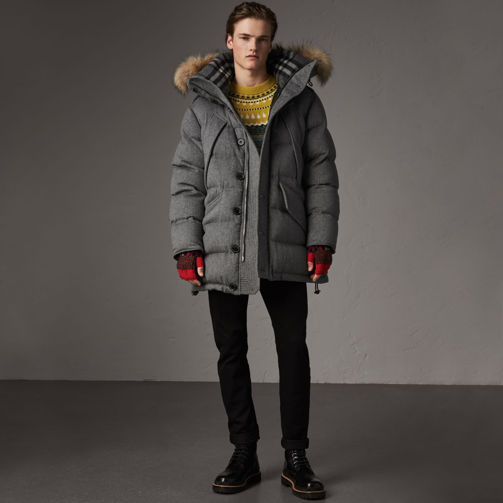 Detachable Fur Trim Cashmere Down-filled Parka in Mid Grey Melange - Men | Burberry Hong Kong - gallery image 1