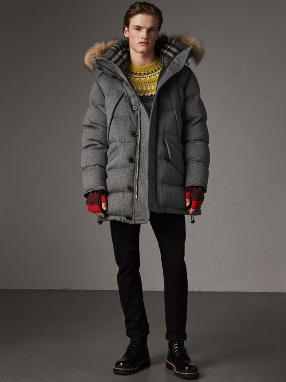 Detachable Fur Trim Cashmere Down-filled Parka in Mid Grey Melange