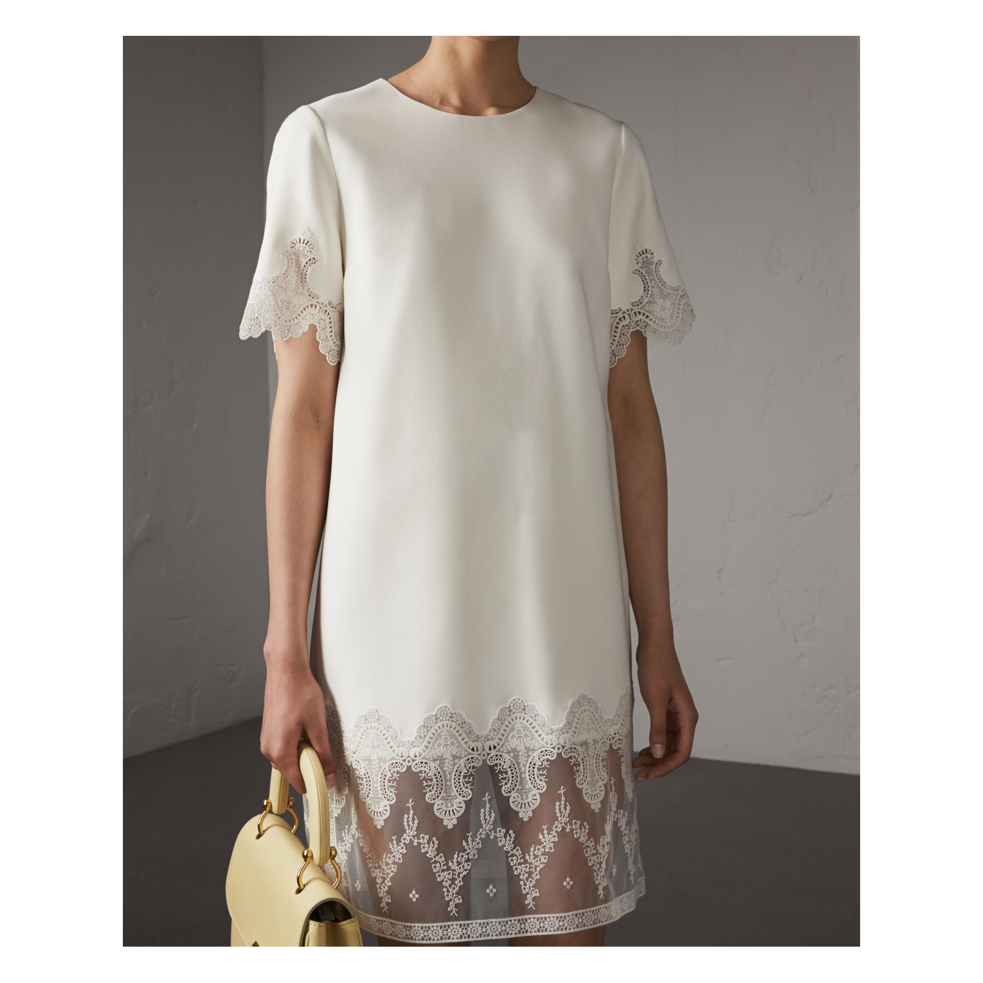 Lace and Silk Shift Dress in Natural White - Women | Burberry - gallery image 5