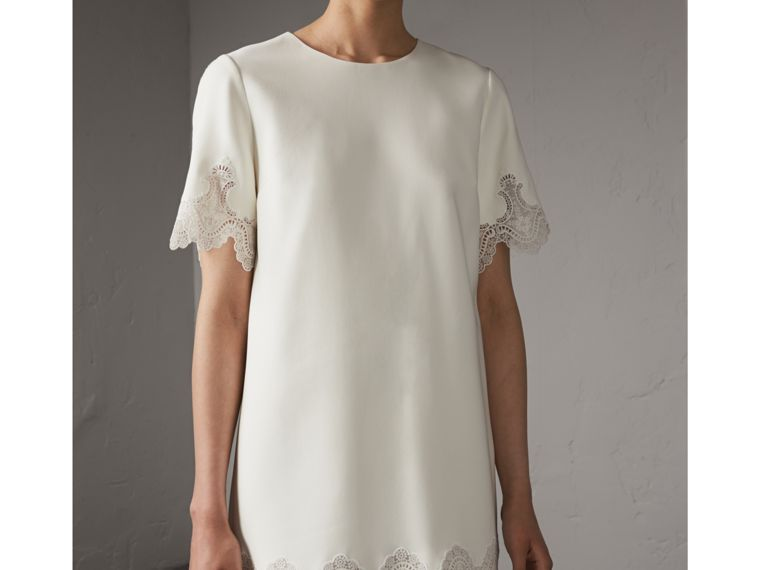 Lace and Silk Shift Dress in Natural White - Women | Burberry - cell image 4