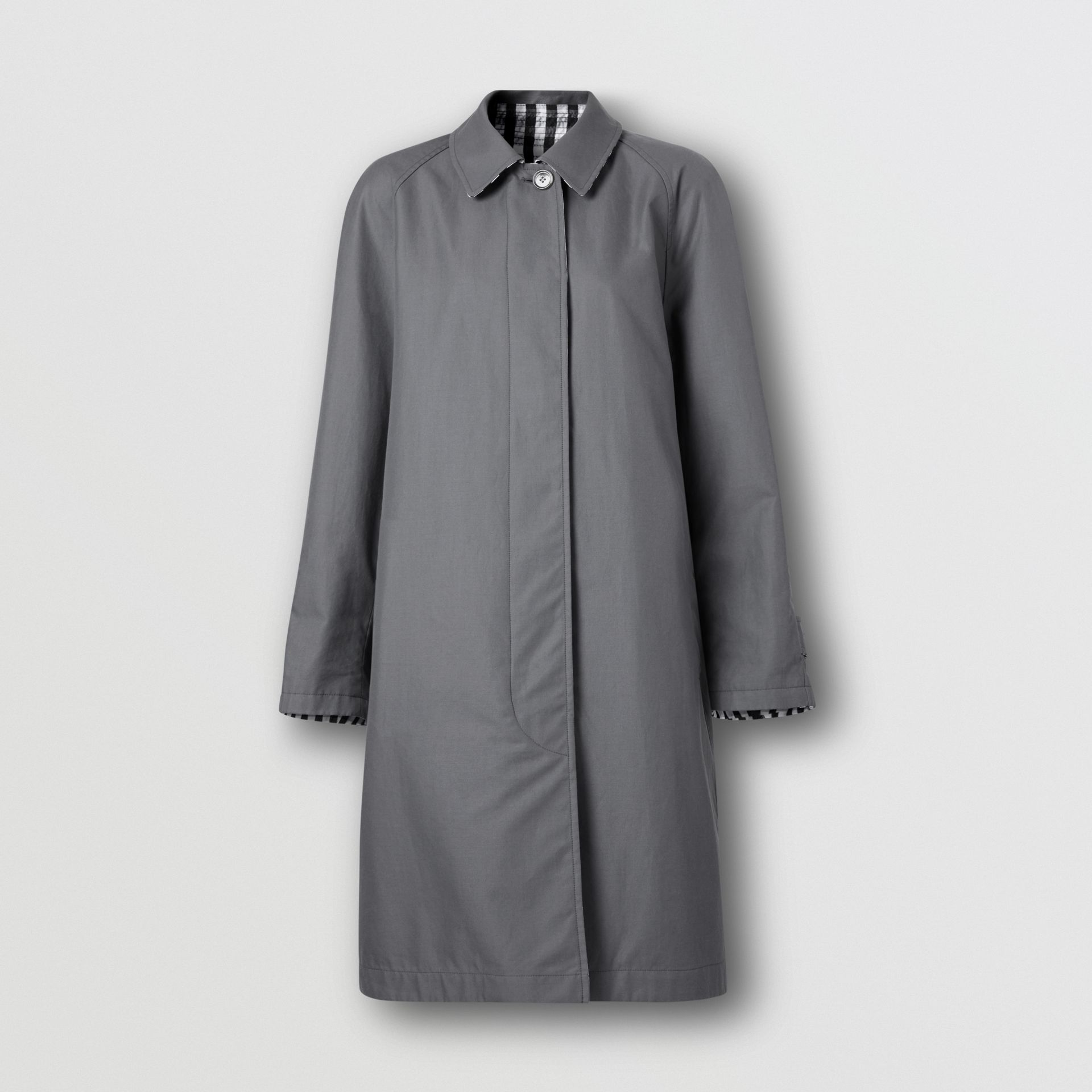 Reversible Cotton Gabardine Car Coat in Mid Grey - Women | Burberry United Kingdom - gallery image 3