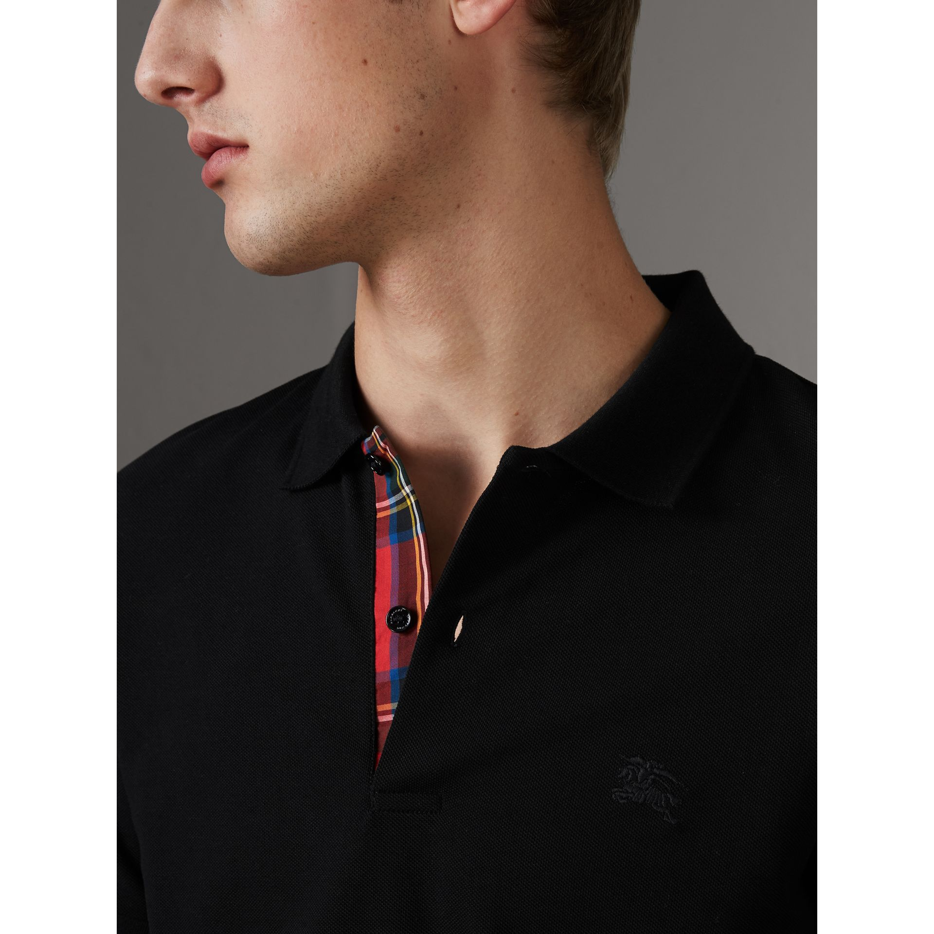Tartan Trim Cotton Piqué Polo Shirt in Black - Men | Burberry - gallery image 1