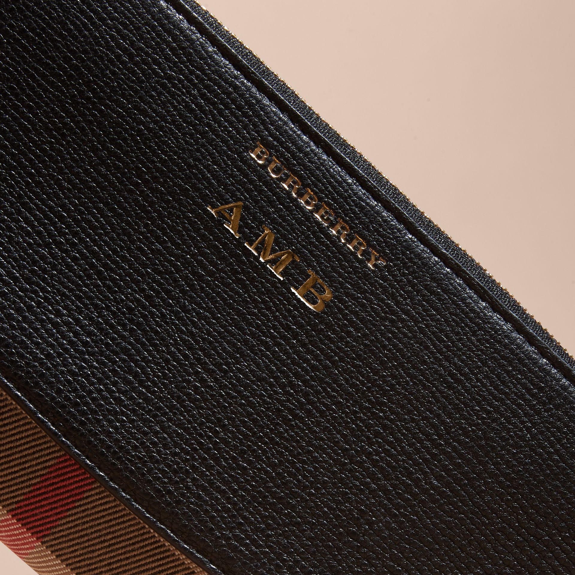 House Check and Leather Ziparound Wallet in Black - Women | Burberry - gallery image 7
