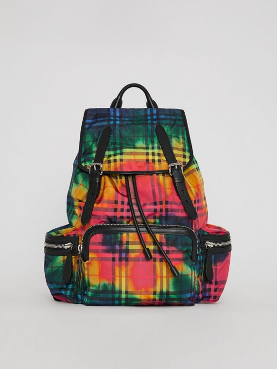 The Large Rucksack in Tie-dye Vintage Check in Multicolour