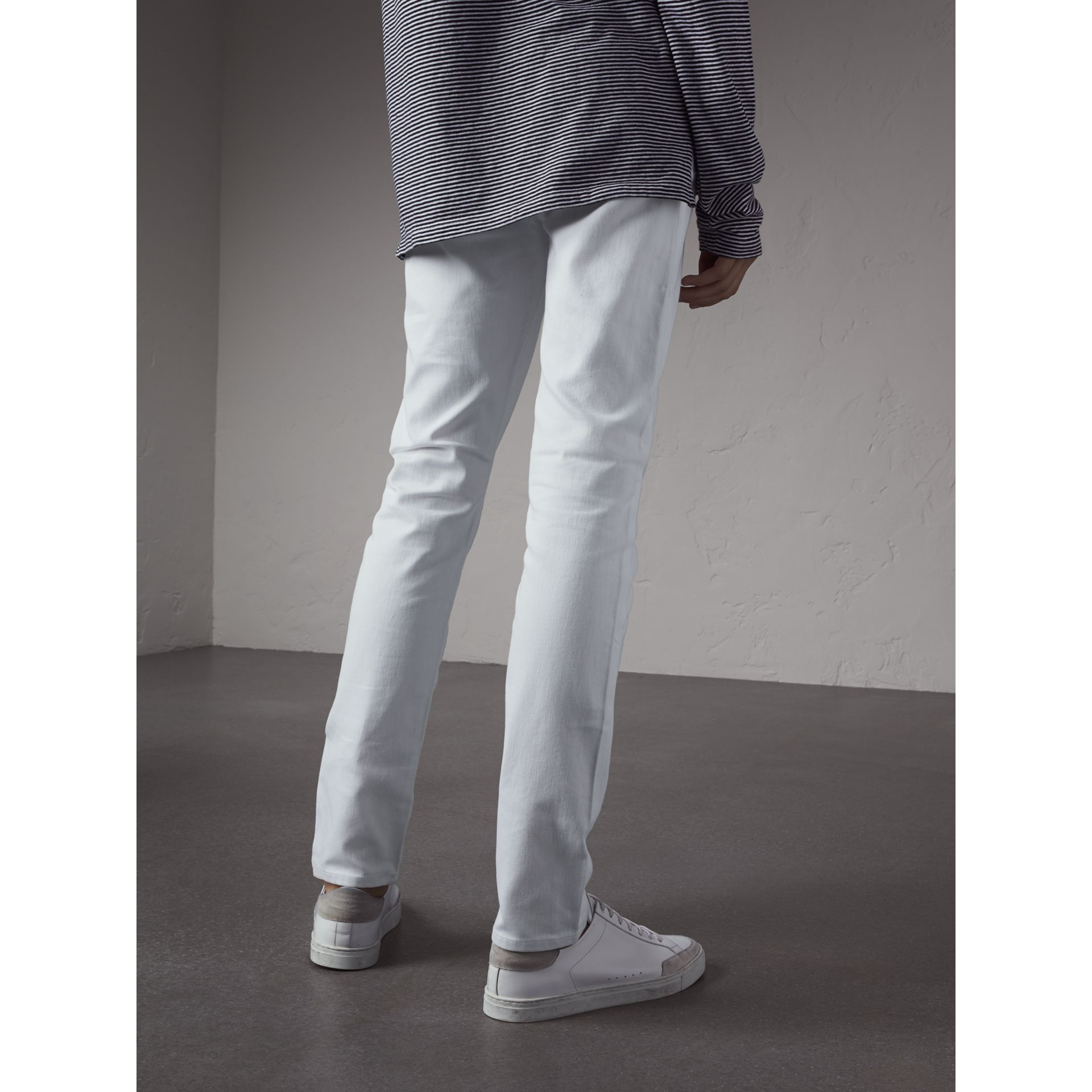 Slim Fit Stretch Japanese Denim Jeans in White - Men | Burberry - gallery image 2