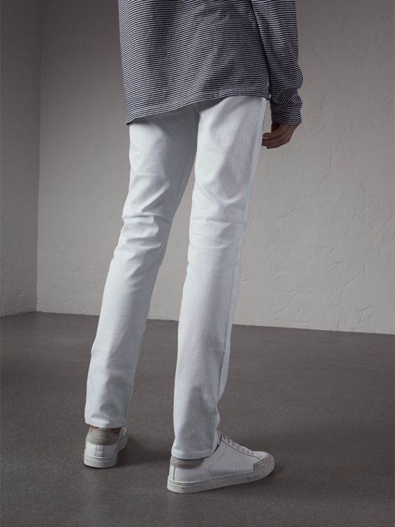 Slim Fit Stretch Japanese Denim Jeans in White - Men | Burberry United Kingdom - cell image 2