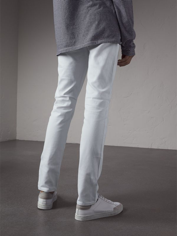 Slim Fit Stretch Japanese Denim Jeans in White - Men | Burberry - cell image 2