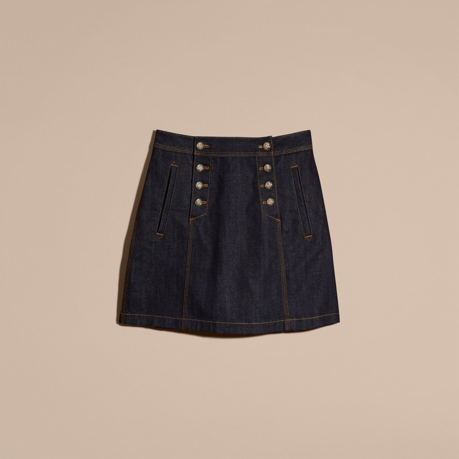 Indigo Denim A-line Skirt - gallery image 4