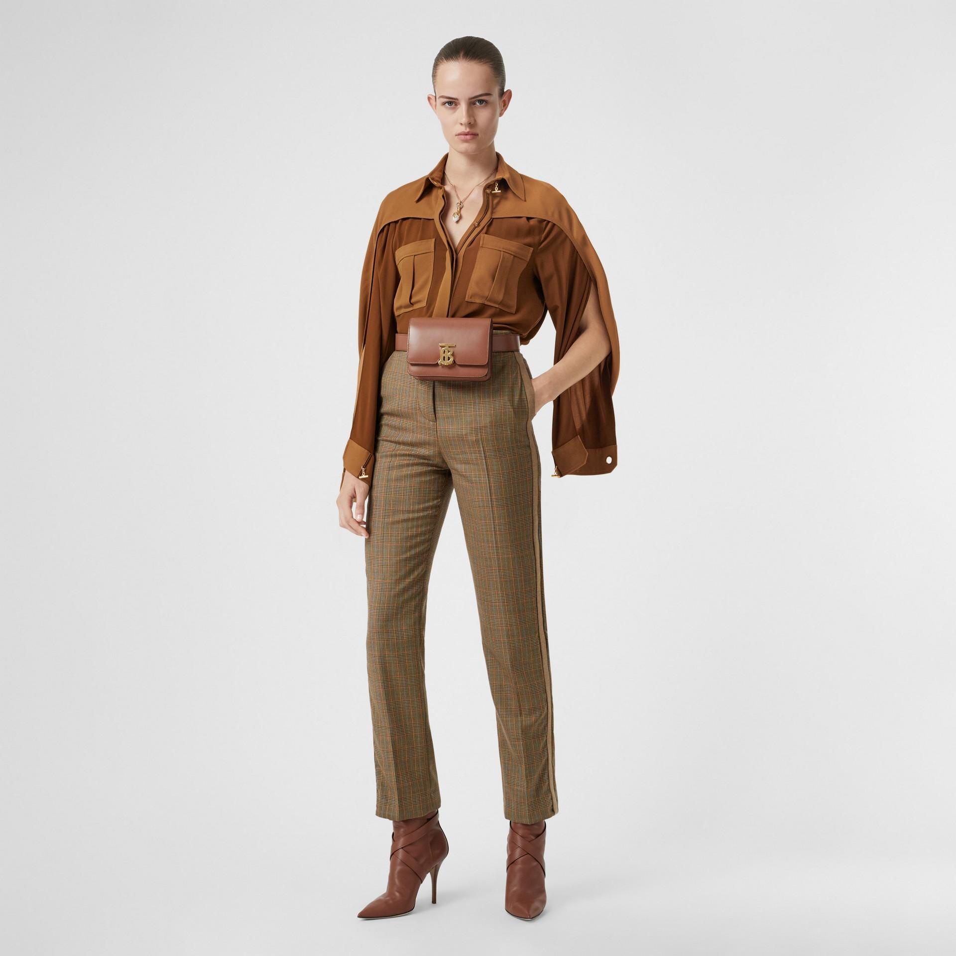 Cape Sleeve Two-tone Silk Shirt in Mahogany - Women   Burberry United Kingdom - gallery image 5
