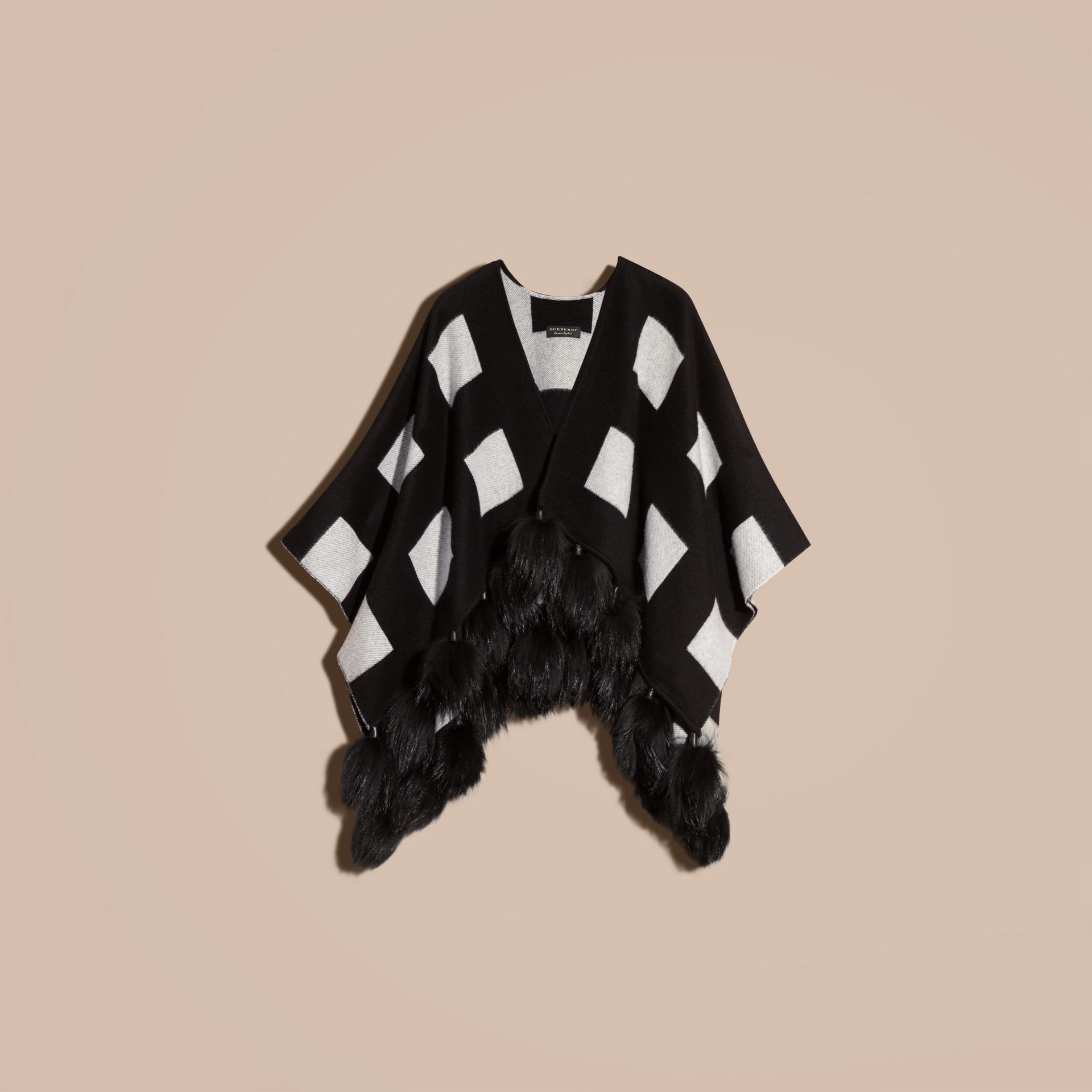 Black/white Check Jacquard Cashmere Poncho with Raccoon Pom-poms - gallery image 4