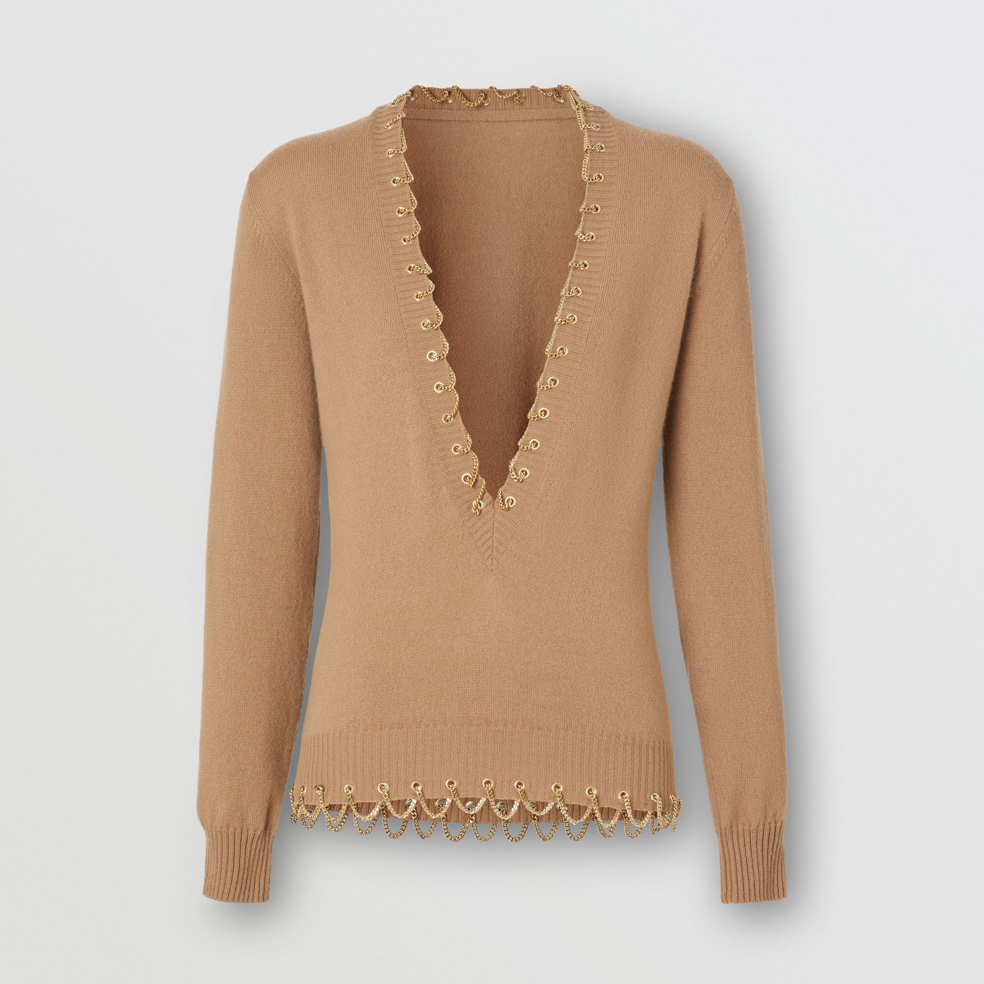 Chain Detail Cashmere Sweater in Camel - Women | Burberry - gallery image 3