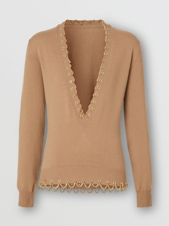 Chain Detail Cashmere Sweater in Camel