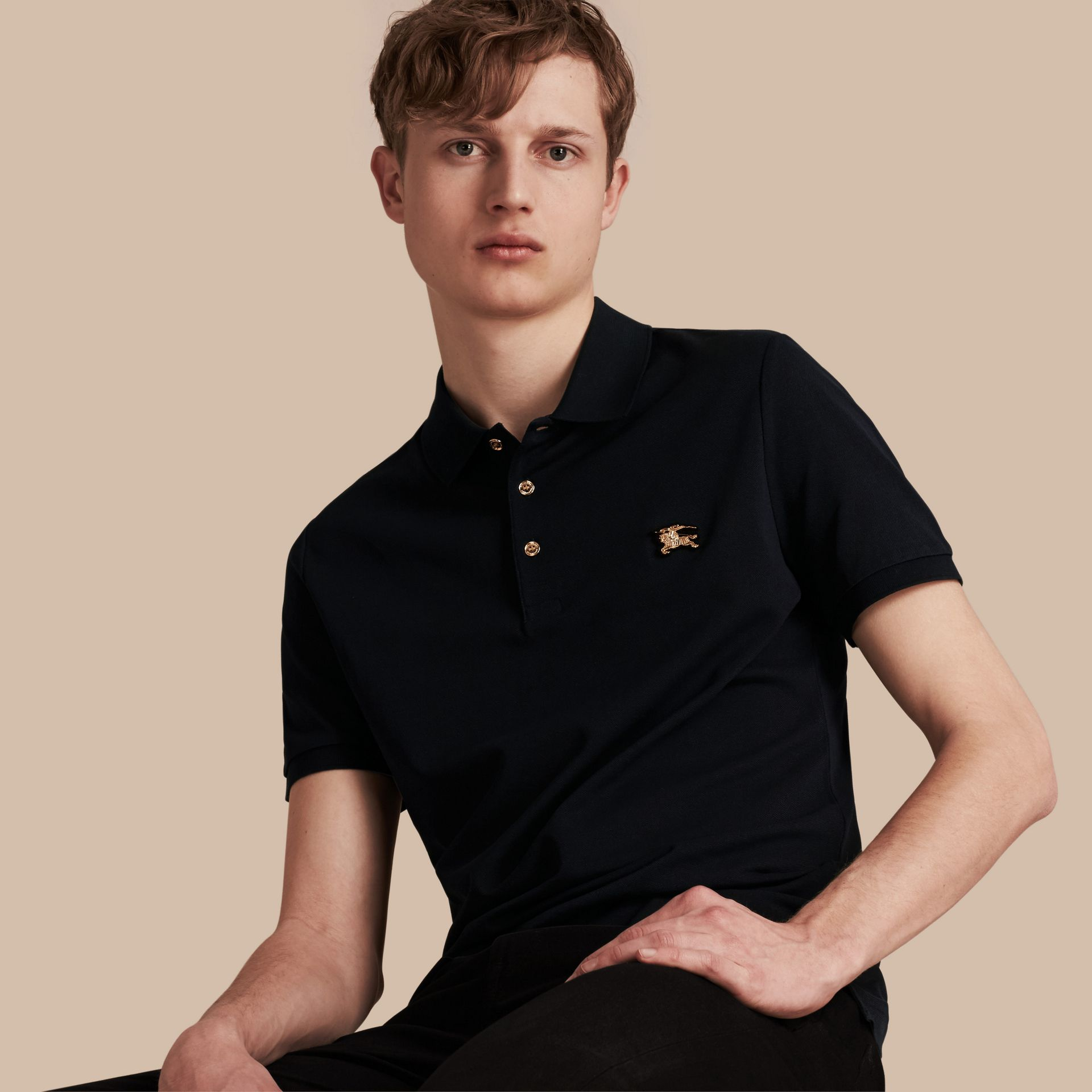 Navy Fitted Mercerised Cotton-Piqué Polo Shirt Navy - gallery image 1