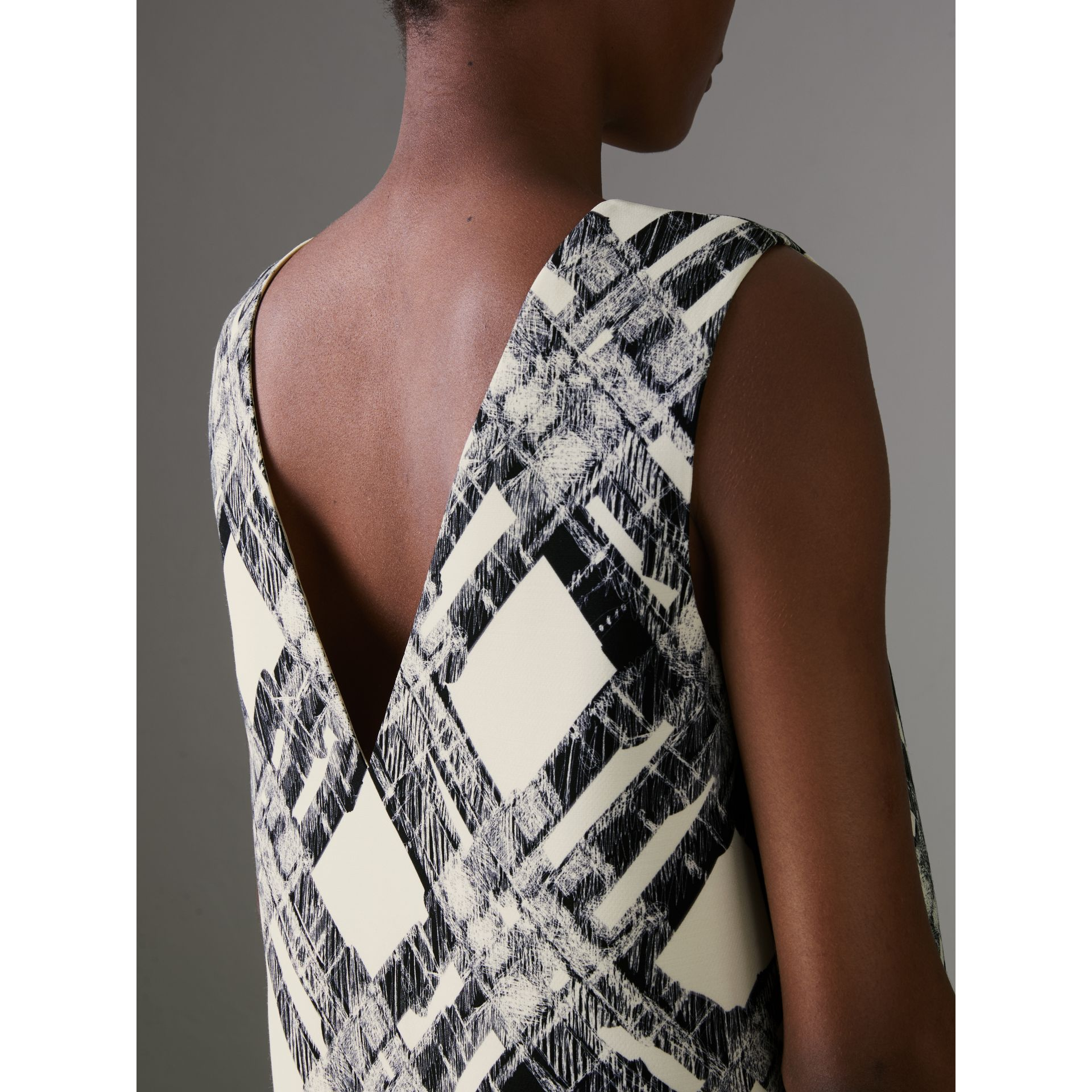 Sleeveless Check Print Wool Silk Top in Stone - Women | Burberry - gallery image 1