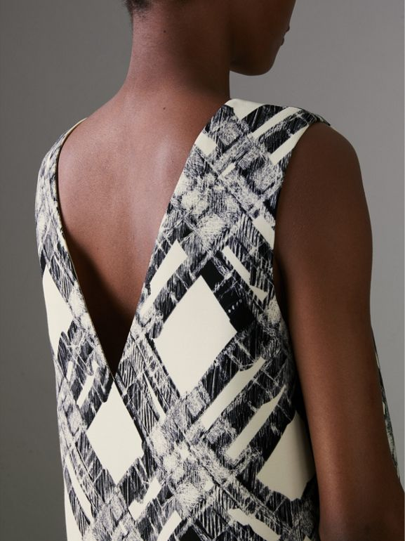 Sleeveless Check Print Wool Silk Top in Stone - Women | Burberry United States - cell image 1