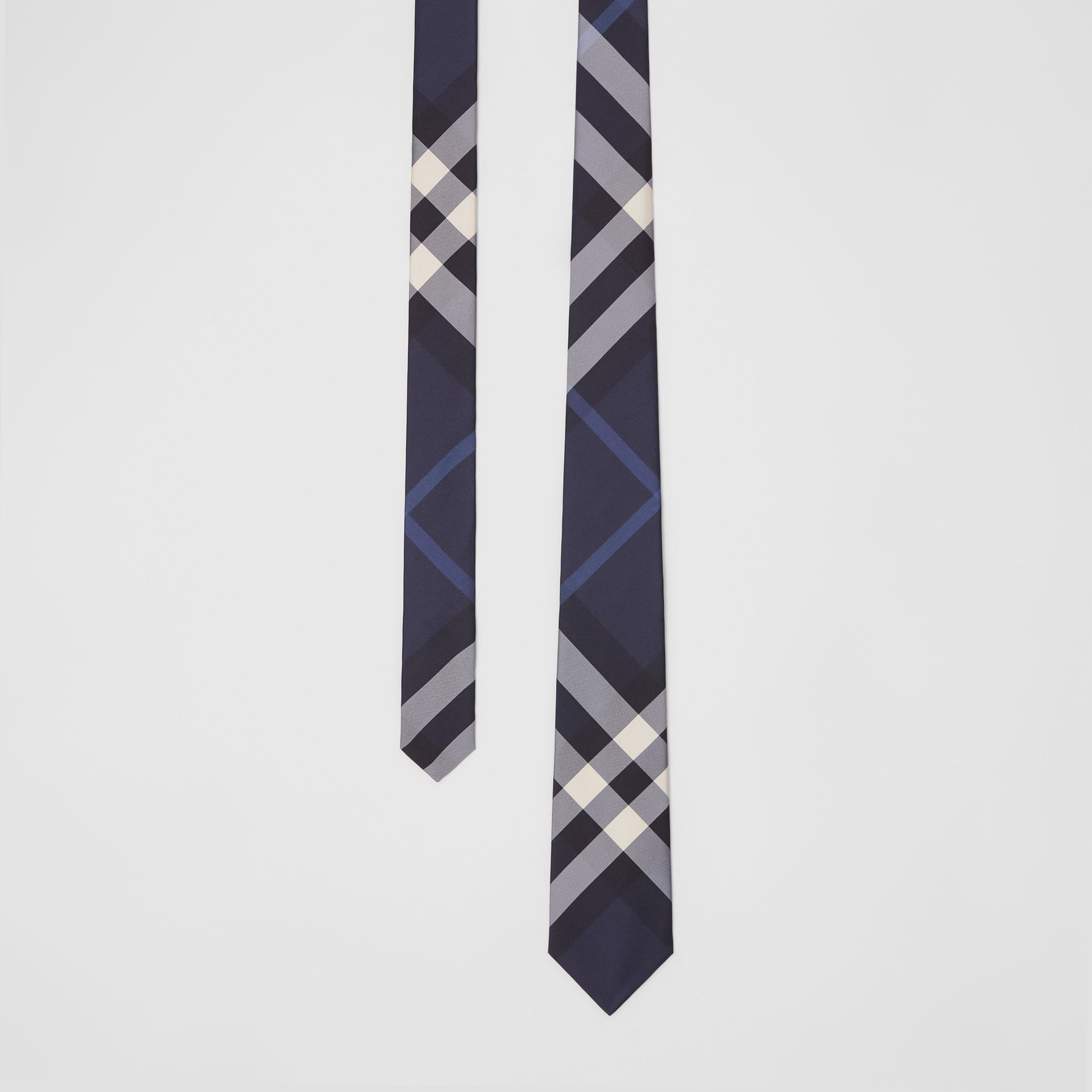 Classic Cut Check Silk Tie in Navy - Men | Burberry United Kingdom - gallery image 0
