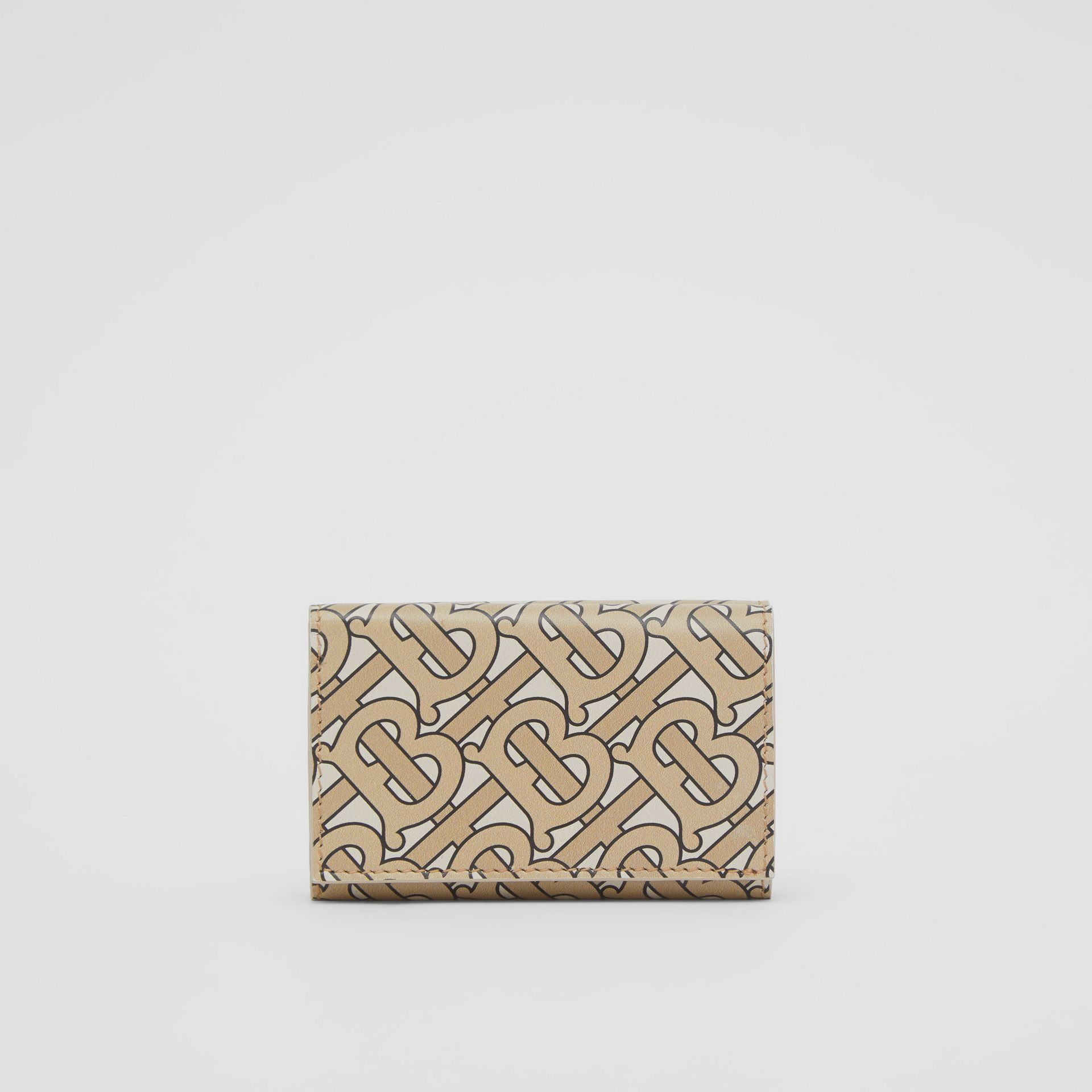 Small Monogram Print Leather Folding Wallet in Beige | Burberry United Kingdom - gallery image 4
