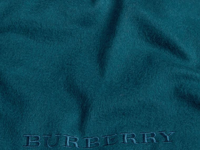 Cashmere Blanket in Dark Teal | Burberry United Kingdom - cell image 1