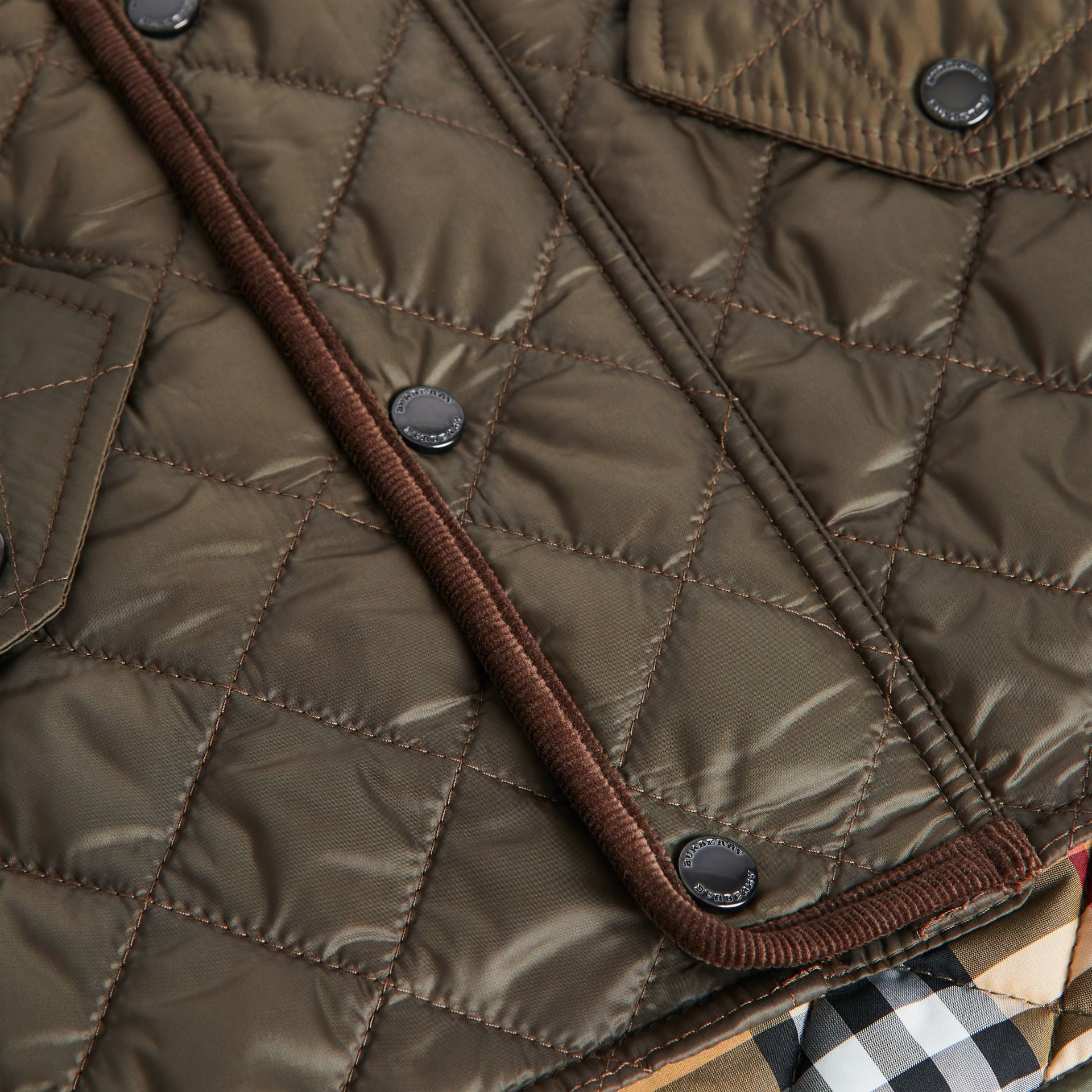 Lightweight Diamond Quilted Jacket in Olive | Burberry United States - gallery image 1
