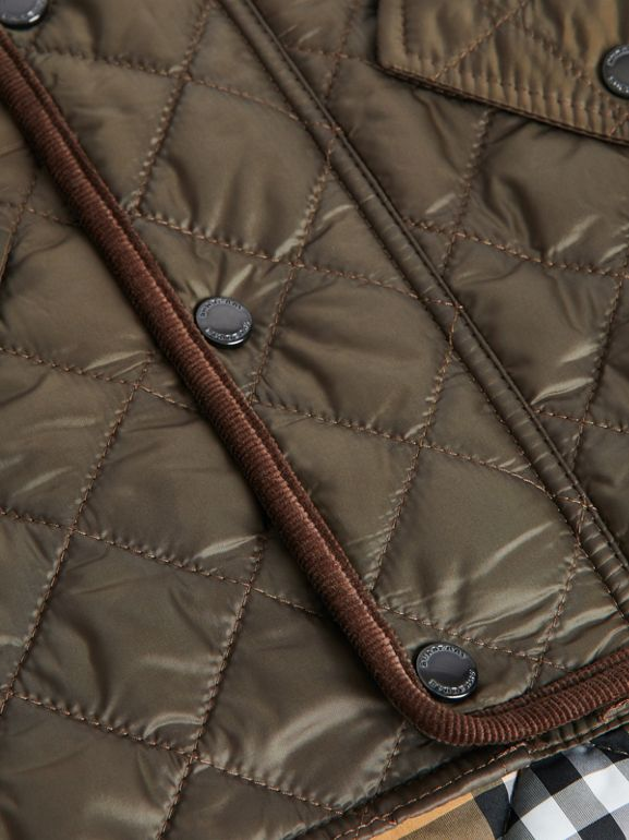 Lightweight Diamond Quilted Jacket in Olive | Burberry Singapore - cell image 1