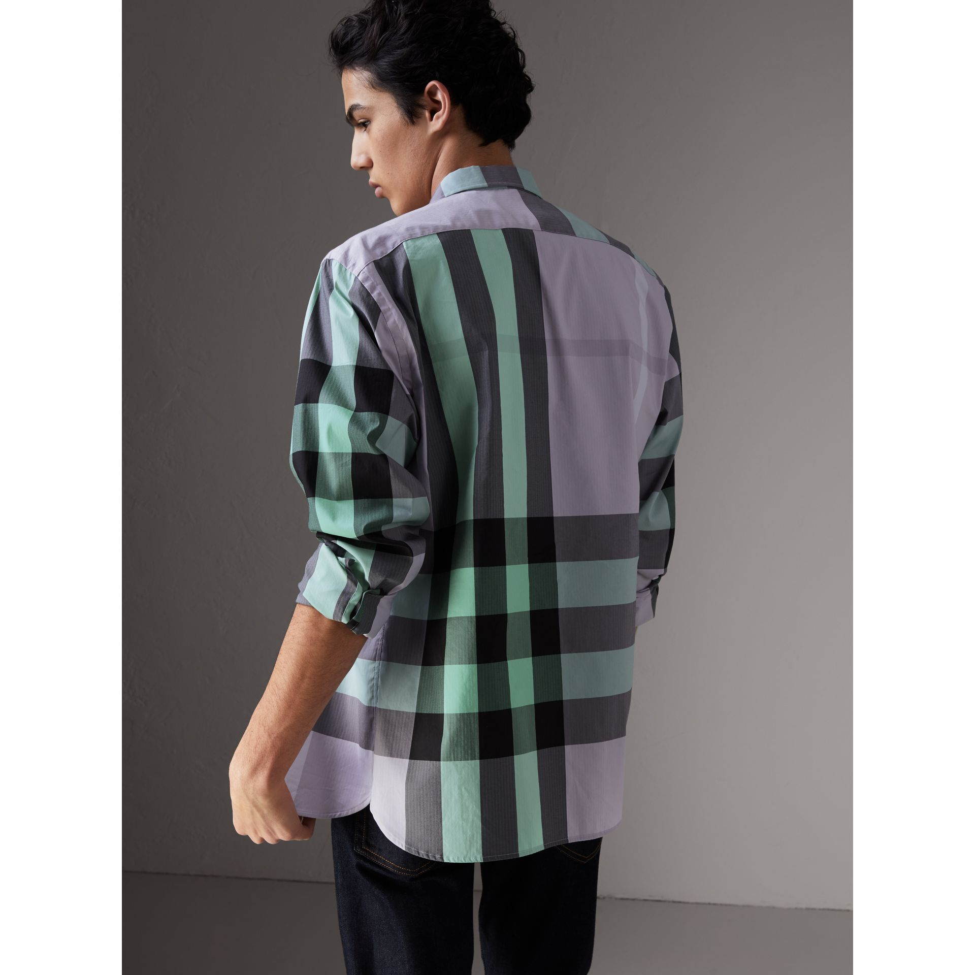 Button-down Collar Check Stretch Cotton Blend Shirt in Pale Lilac - Men | Burberry - gallery image 2