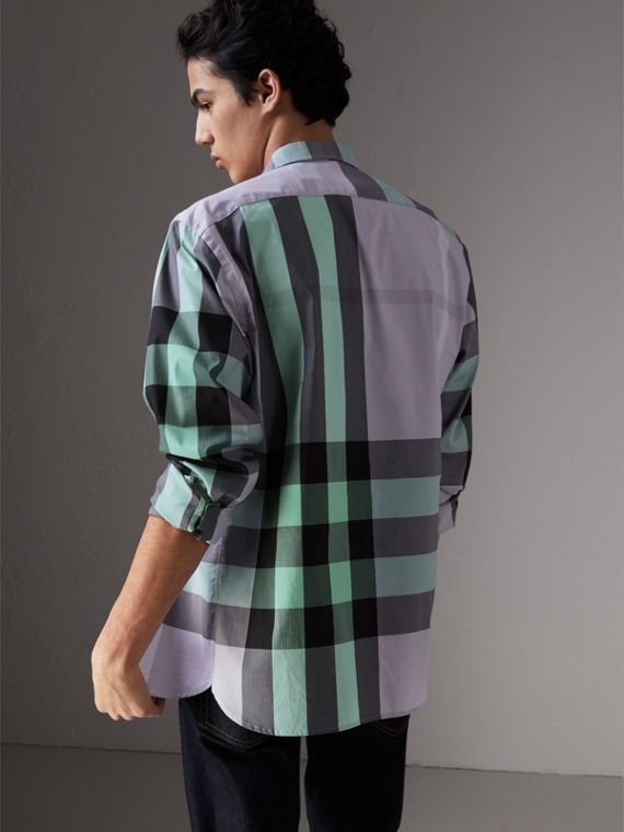 Button-down Collar Check Stretch Cotton Blend Shirt in Pale Lilac - Men | Burberry - cell image 2