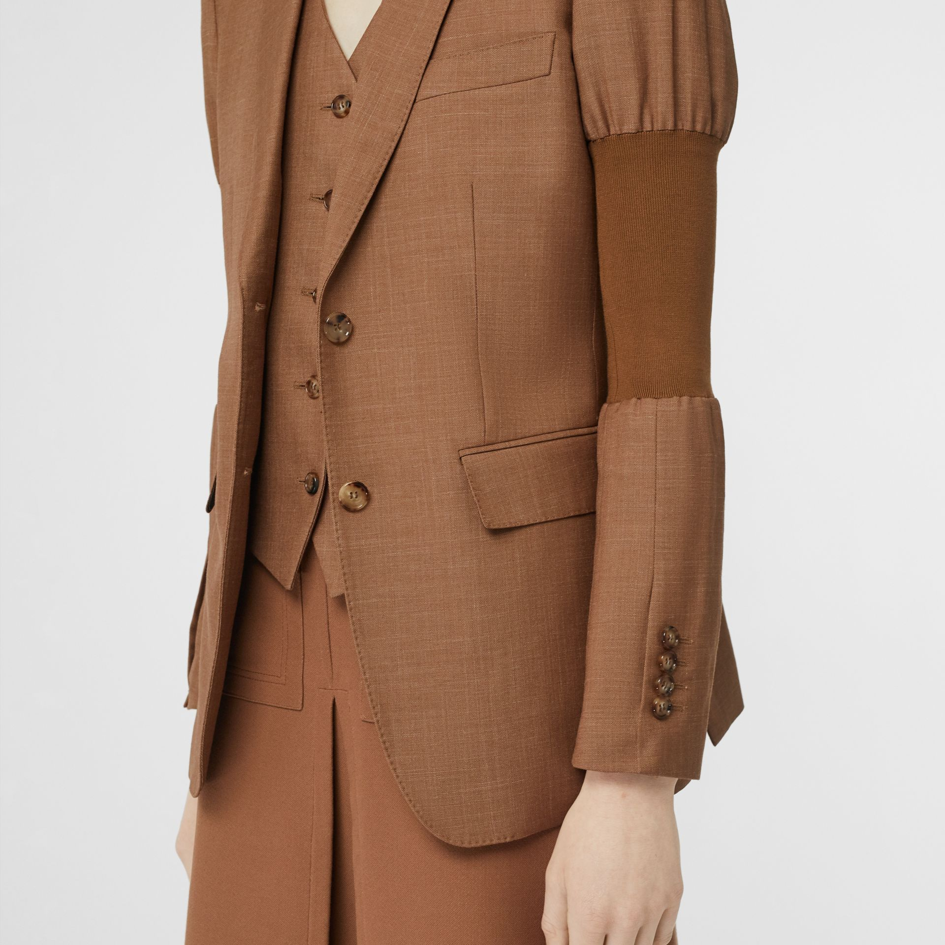 Panelled-sleeve Mohair Wool Blend Tailored Jacket in Bronze - Women | Burberry - gallery image 5