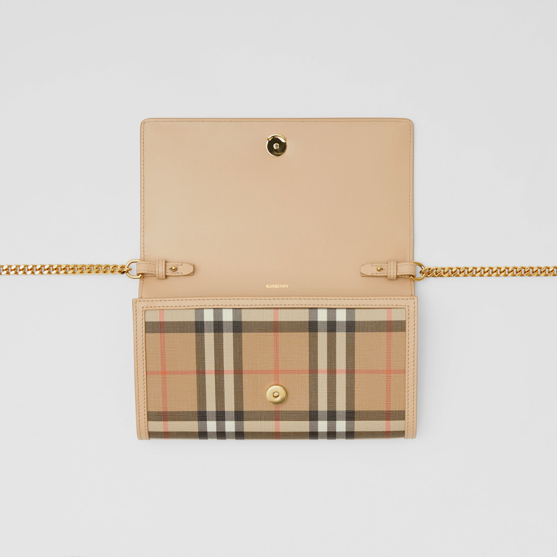 Vintage Check E-canvas Wallet with Detachable Strap in Beige - Women | Burberry - gallery image 9