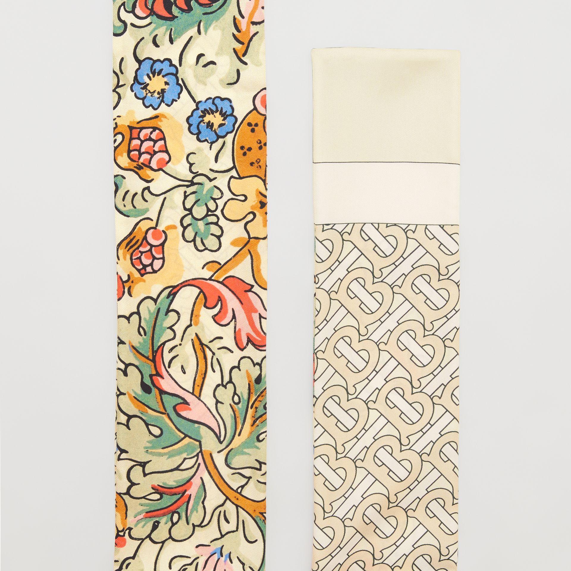 Floral and Monogram Print Silk Skinny Scarf in Sage Green | Burberry - gallery image 1