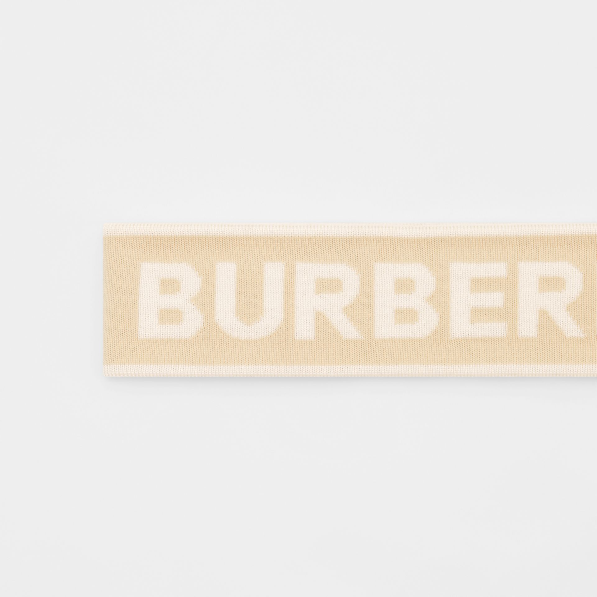 Logo Intarsia Wool Blend Headband in Beige/optic White | Burberry United States - gallery image 1