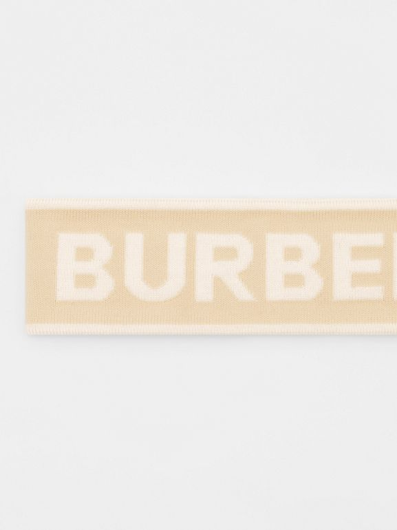 Logo Intarsia Wool Blend Headband in Beige/optic White | Burberry United States - cell image 1