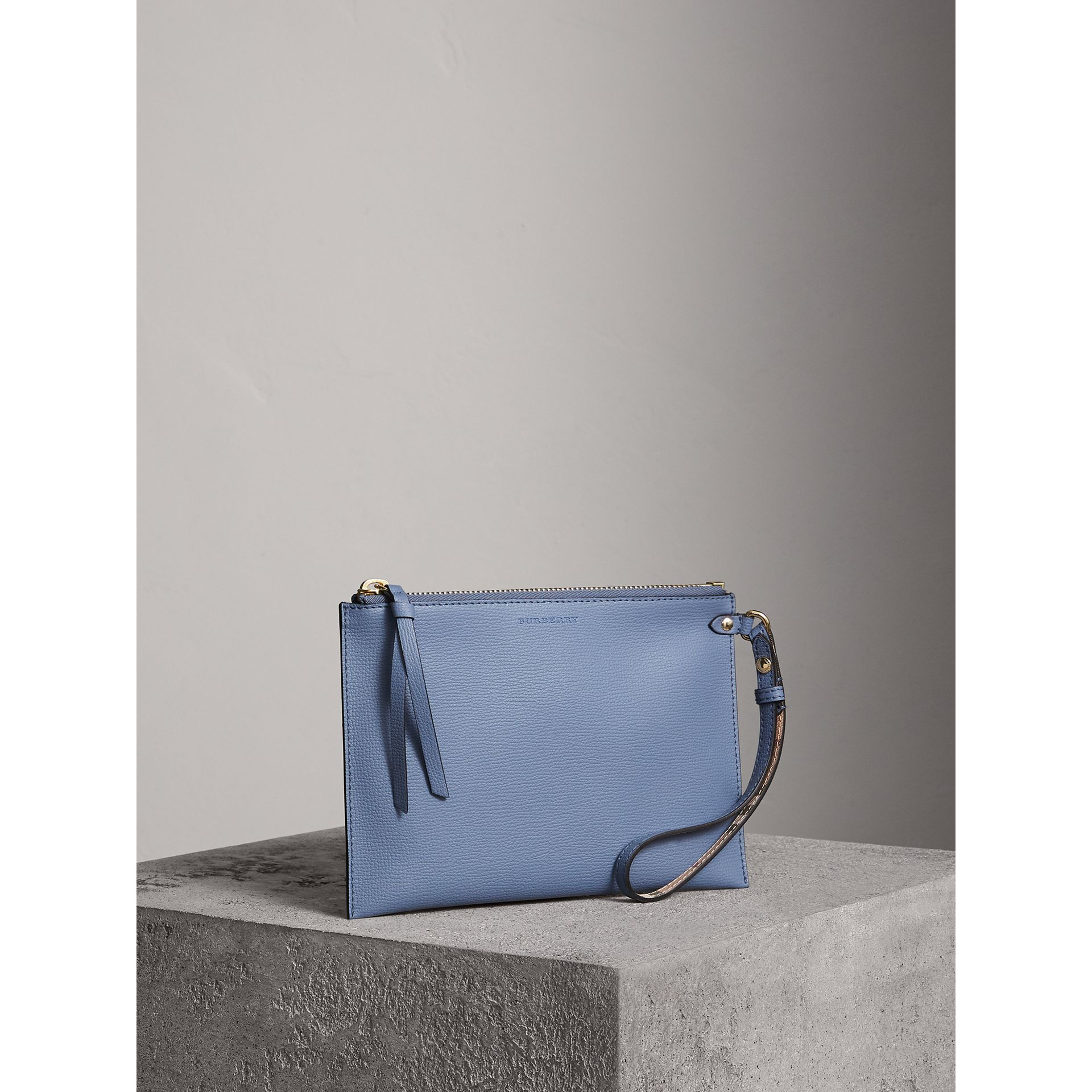 Haymarket Check and Leather Pouch in Slate Blue - Women | Burberry United Kingdom - gallery image 6