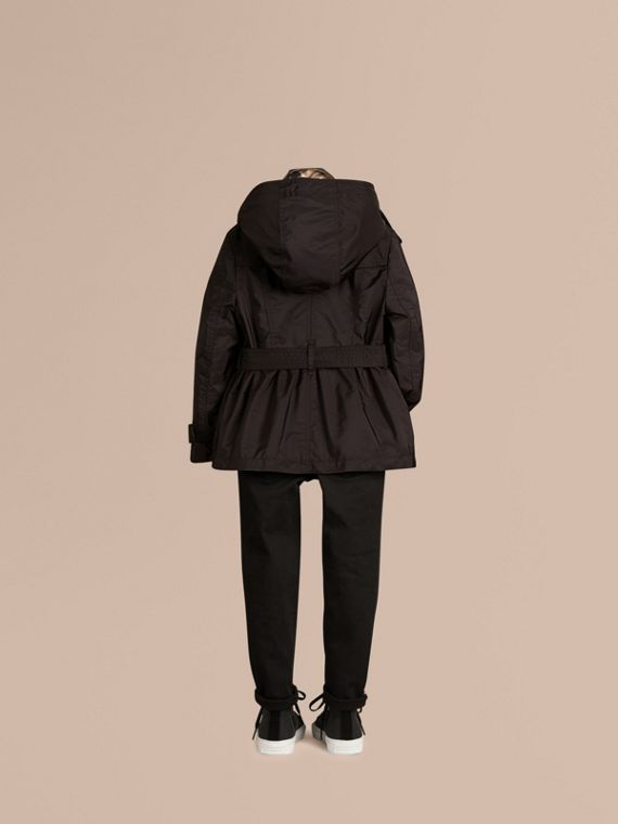 Black Technical Detachable Hood Trench Coat Black - cell image 3