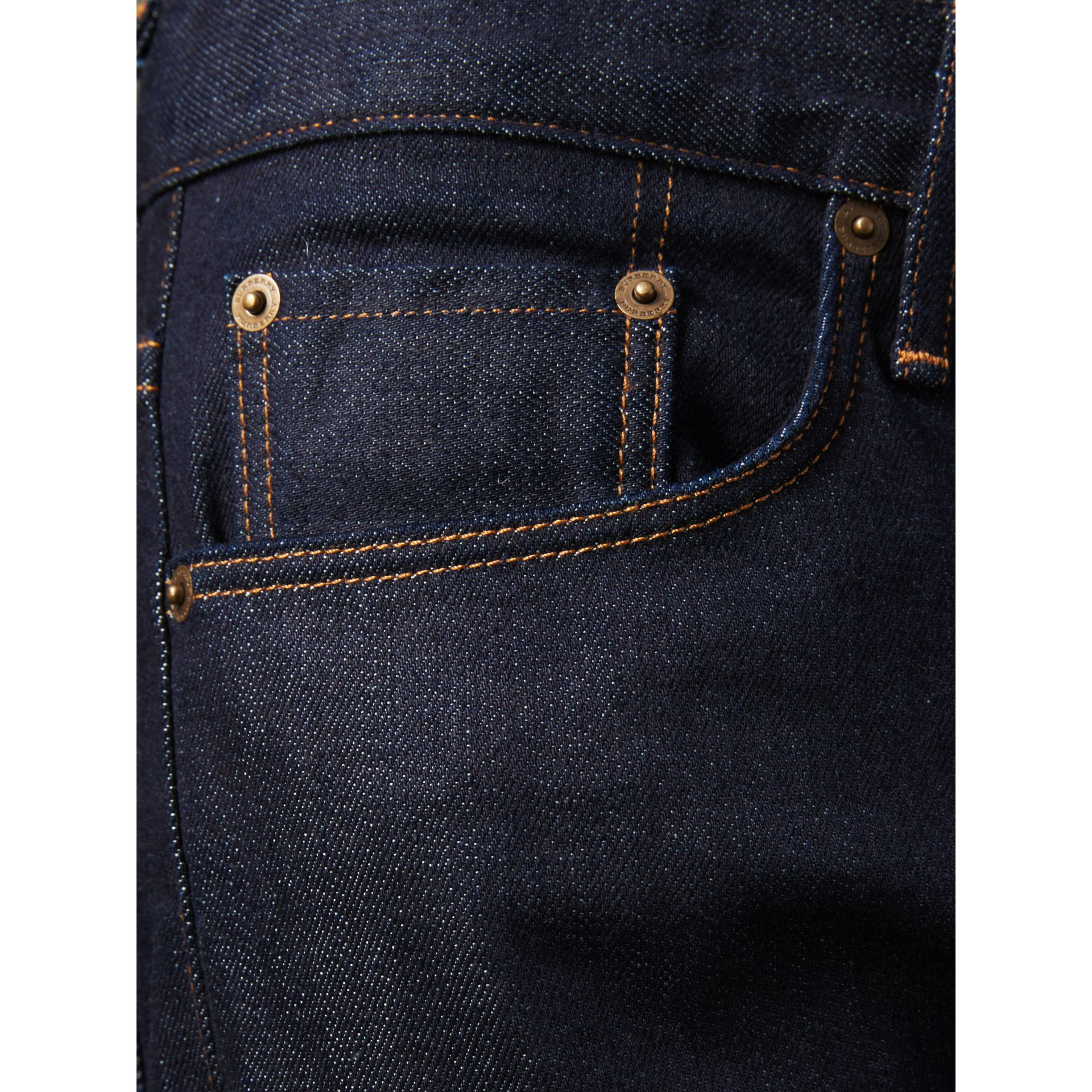 Straight Fit Stretch Japanese Selvedge Denim Jeans in Dark Indigo - Men | Burberry - gallery image 5