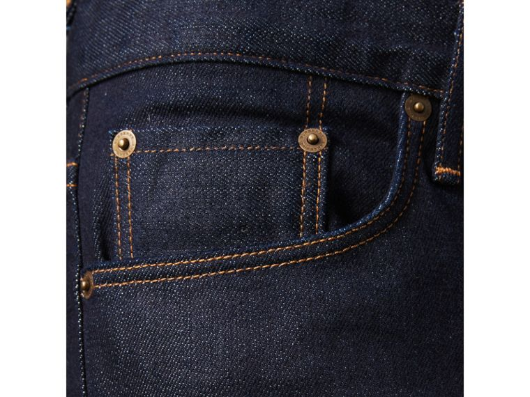 Straight Fit Stretch Japanese Selvedge Denim Jeans in Dark Indigo - Men | Burberry - cell image 4