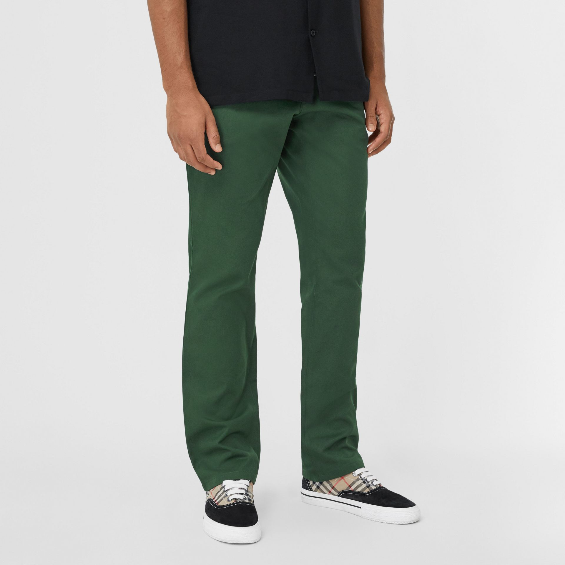 Classic Fit Cotton Chinos in Dark Pine Green - Men | Burberry - gallery image 4