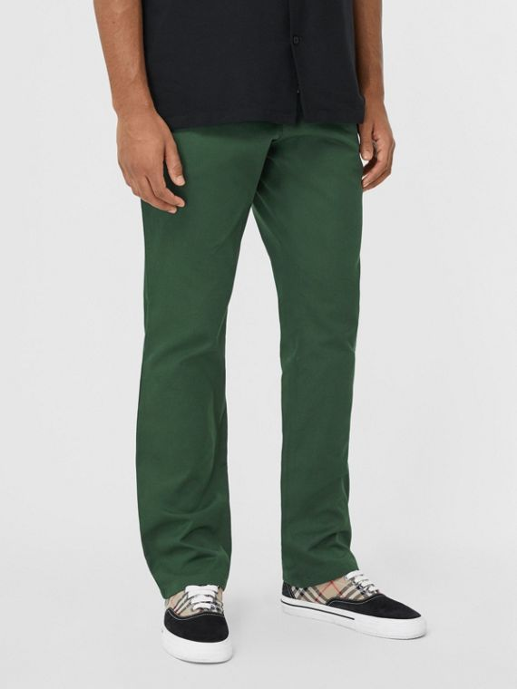 Classic Fit Cotton Chinos in Dark Pine Green