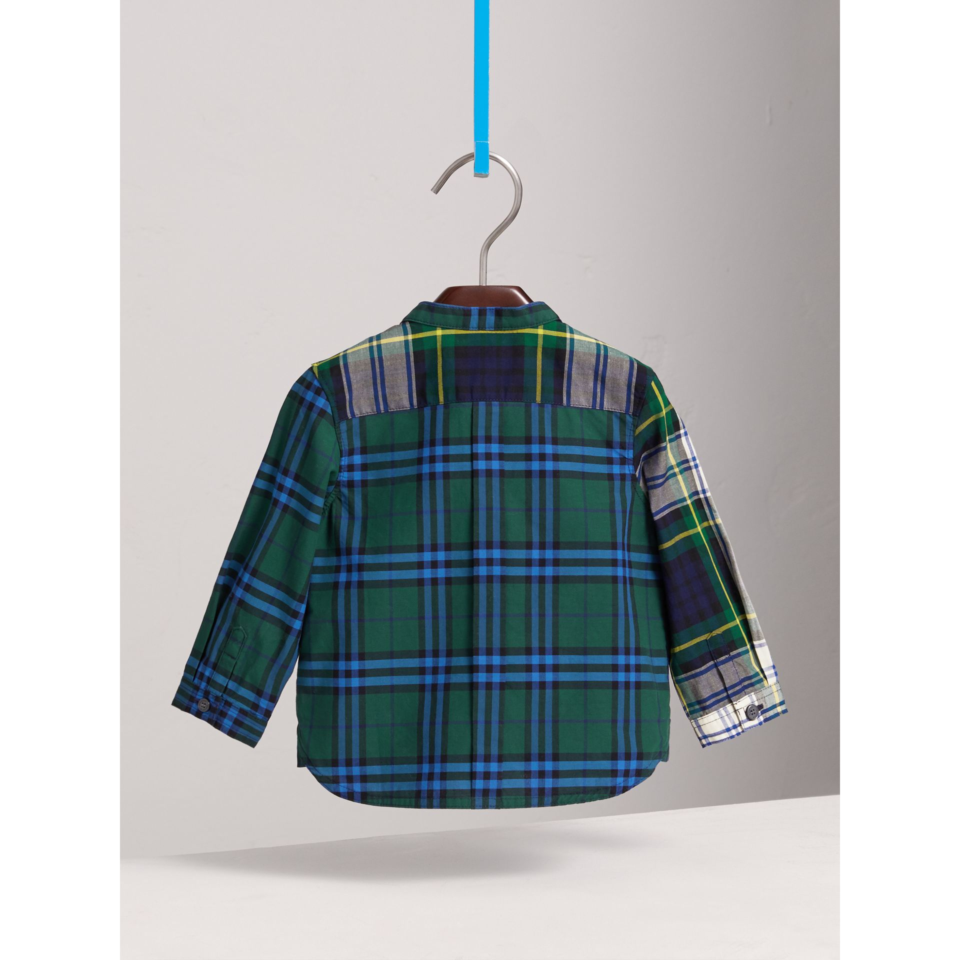 Panelled Tartan and Check Cotton Poplin Shirt in Forest Green | Burberry United Kingdom - gallery image 3