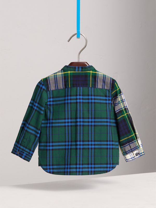 Panelled Tartan and Check Cotton Poplin Shirt in Forest Green | Burberry - cell image 3